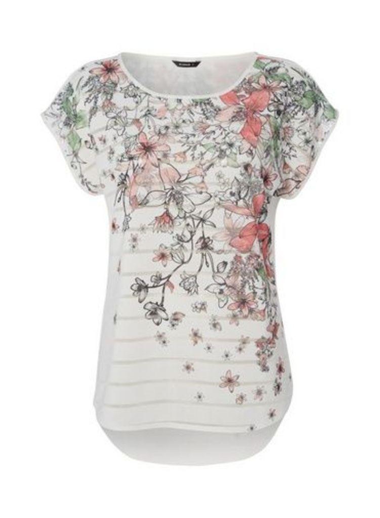 Womens *Roman Originals Stripe Floral Print T-Shirt- Ivory, Ivory