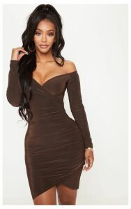 Shape Chocolate Slinky Ruched Detail bardot Dress, Chocolate
