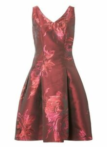 Womens **Luxe Red Jacquard Prom Dress, Red