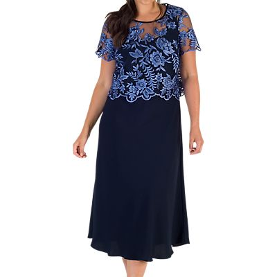 Chesca Scallop Embroidered Mesh Dress, Iris/Navy