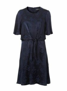 Womens **Tall Navy Jacquard Knot Front Skater Dress- Blue, Blue