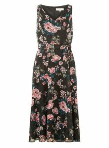 Womens ** Billie & Blossom Black Floral Chiffon Midi Dress- Black, Black