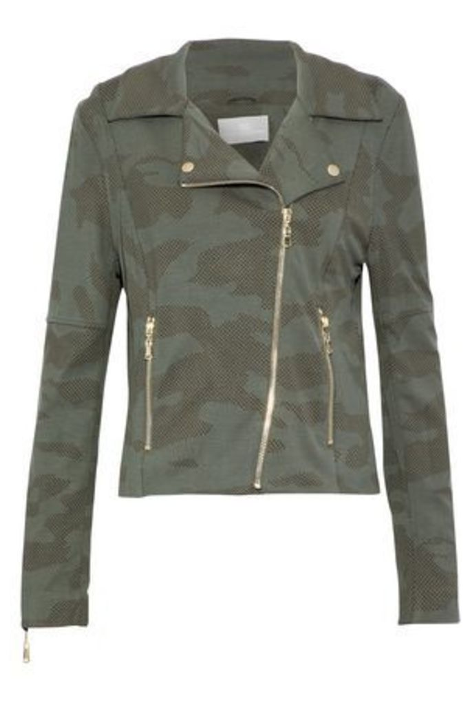 Tart Collections Woman Gracia Printed Jersey Biker Jacket Army Green Size L