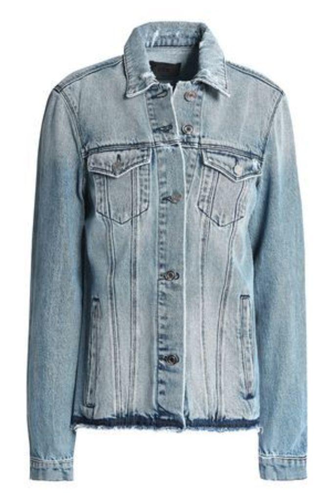 Rta Woman Distressed Denim Jacket Light Denim Size XS
