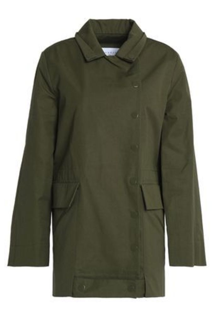 Sandro Woman Embroidered Cotton Jacket Army Green Size 2