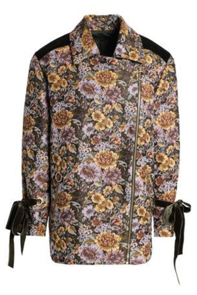 Mother Of Pearl Woman Velvet-trimmed Floral-design Double-breasted Jacquard Jacket Mustard Size L