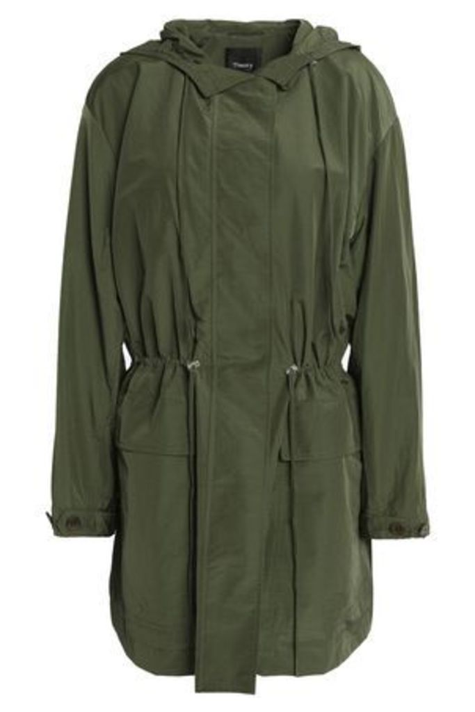 Theory Woman Gathered Cotton-blend Shell Hooded Jacket Army Green Size L