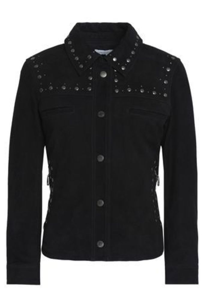 Rebecca Minkoff Woman Studded Suede Biker Jacket Black Size XXS