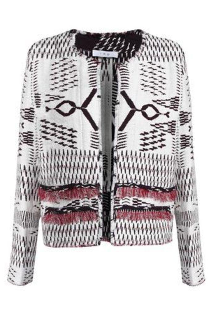Iro Woman Frayed Jacquard Jacket White Size 38