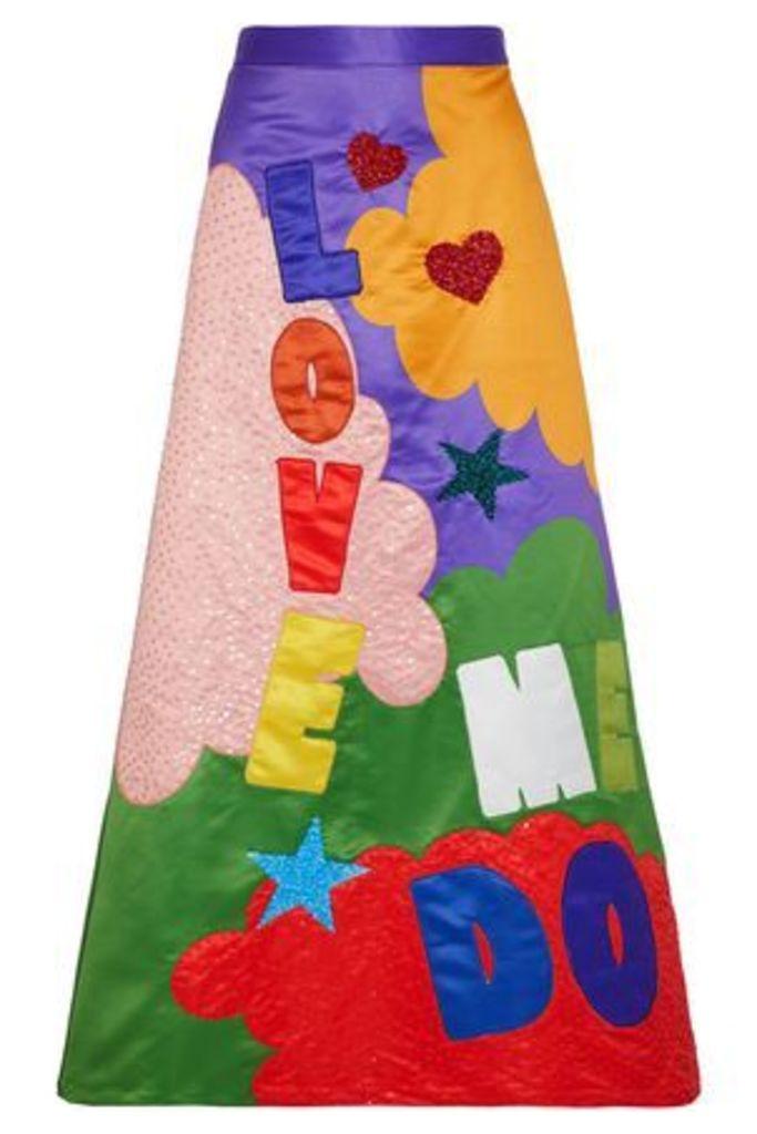 Alice + Olivia Woman Ursula Embellished Printed Satin Maxi Skirt Multicolor Size 0