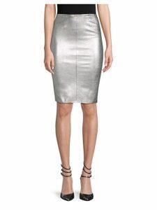 Jaden Metallic Leather Pencil Skirt