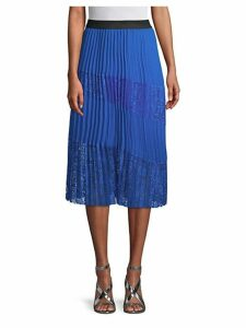 Pleated Lace Panel Skirt