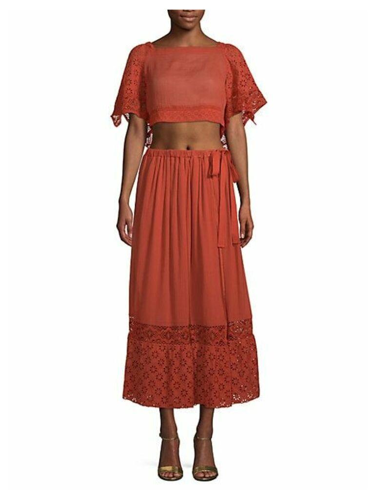 Darling 2-Piece Cotton Cropped Top & Midi Skirt Set