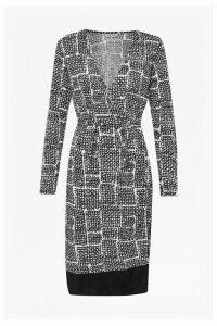 Tic Tac Toe Check Wrap Dress