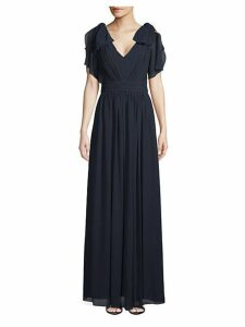 Bow-Sleeve V-Neck Gown