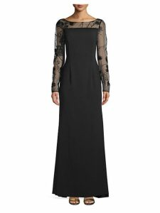 Long-Sleeve Lace Evening Gown