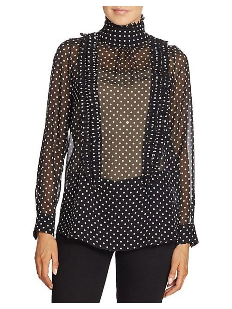 Ruffled Polka Dot Silk Blouse