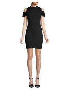 Ribbed Cold-Shoulder Sheath Dress