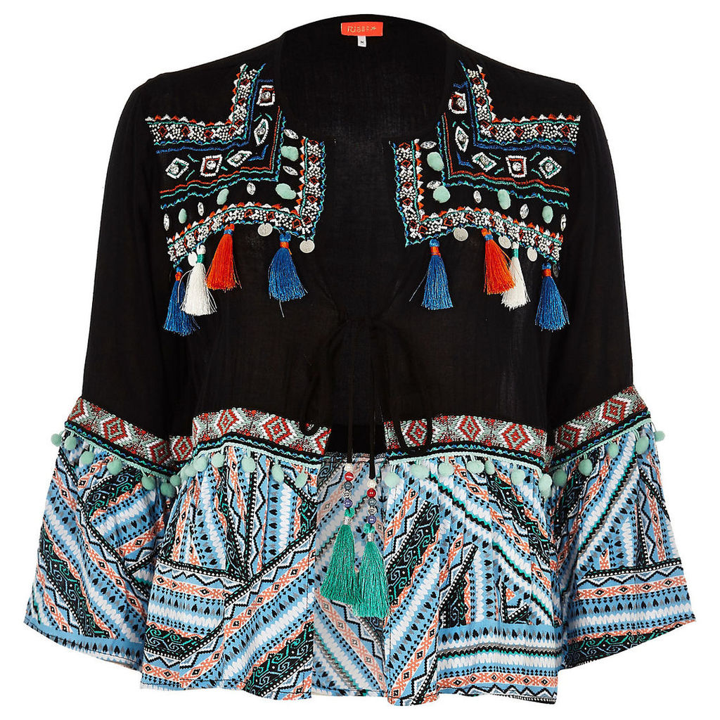 Womens Black embellished aztec beach kaftan jacket