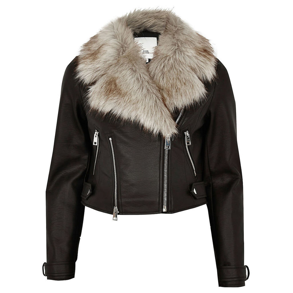 Womens Petite Black faux fur trim biker jacket