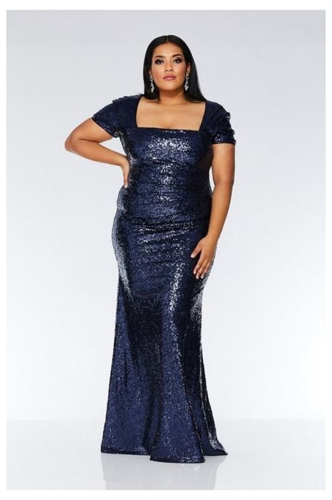 Quiz Curve Navy Sequin Maxi Dress