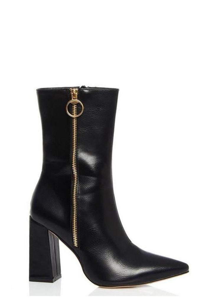 Quiz Black Pointed Zip Heel Calf Boots