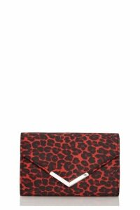 Quiz Red Leopard Print Envelope Bag
