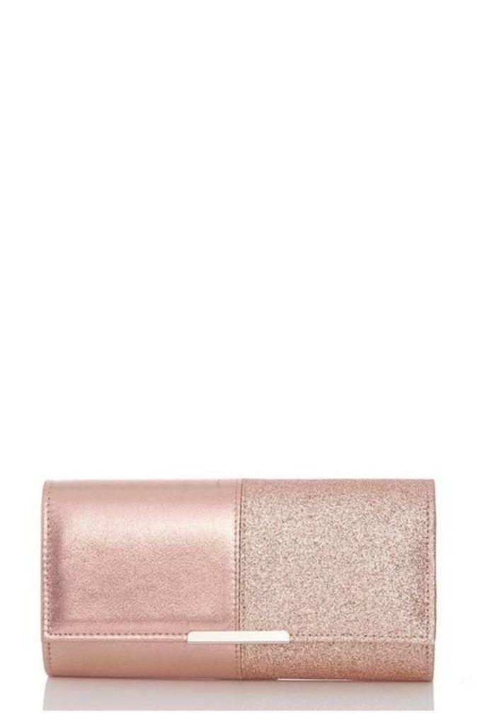 Quiz Rose Gold Glitter Clutch Bag