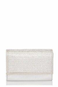 Quiz Silver Shimmer Diamante Bag