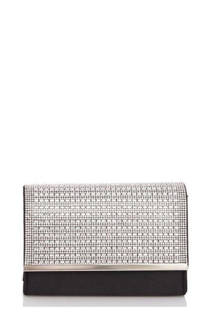 Quiz Black Shimmer Diamante Bag