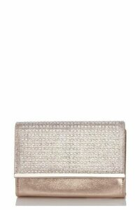 Quiz Gold Shimmer Diamante Bag