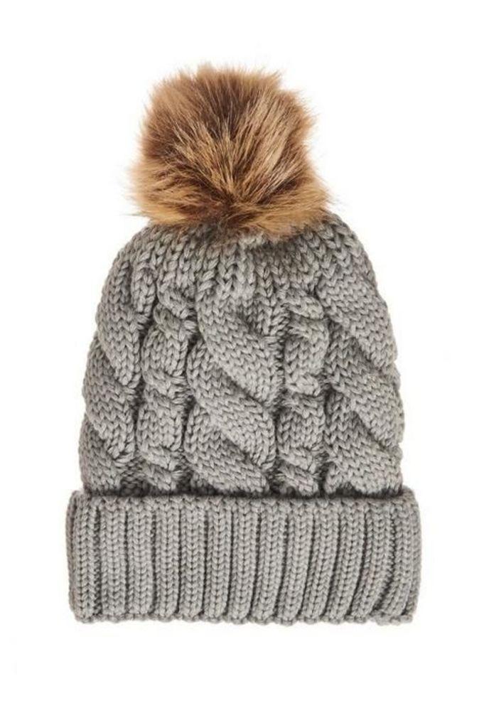 Quiz Grey Pom Cable Knit Hat