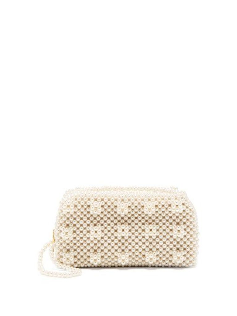 Shrimps - Molly Faux Pearl Embellished Clutch Bag - Womens - Cream