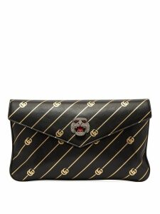 Gucci - Broadway Gg Embossed Leather Clutch - Womens - Black Gold