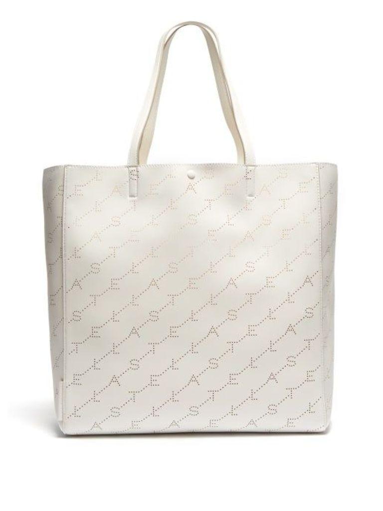 Stella Mccartney - Logo Pattern Faux Leather Tote Bag - Womens - White