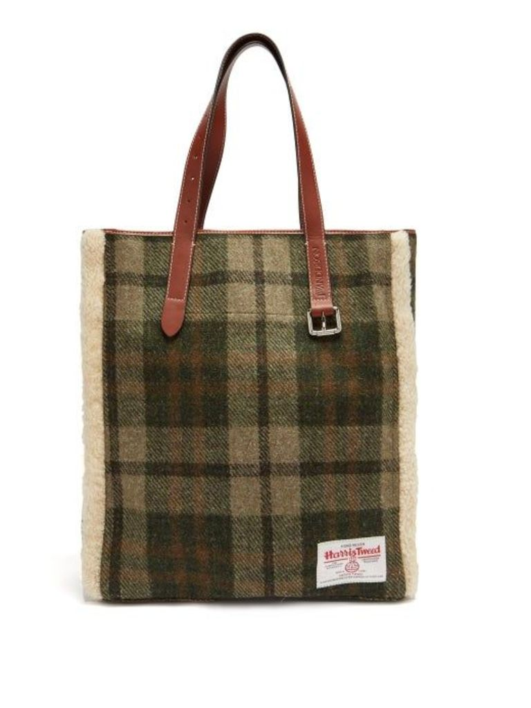Jw Anderson - Shearling Trimmed Checked Harris Tweed Tote - Womens - Green Multi