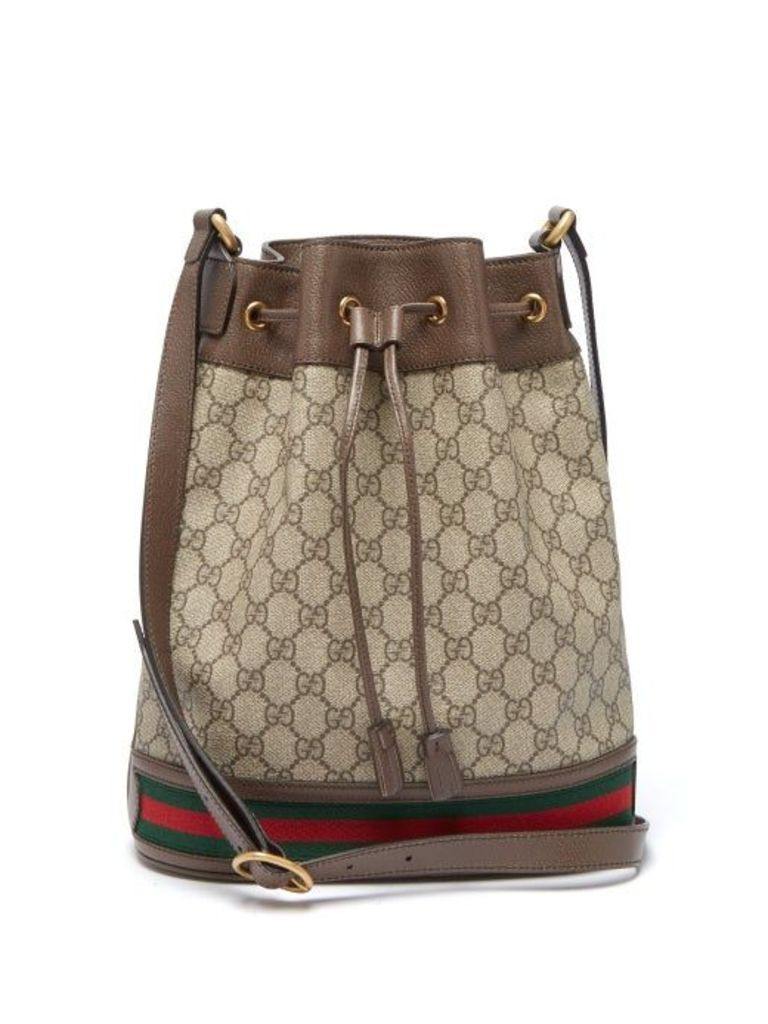 Gucci - Ophidia Gg Supreme Leather Bucket Bag - Womens - Brown Multi