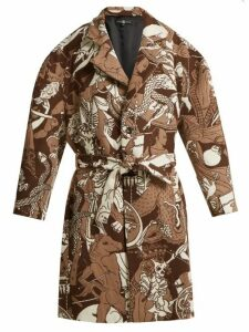 Edward Crutchley - Oversized Wool Jacquard Coat - Womens - Brown Multi