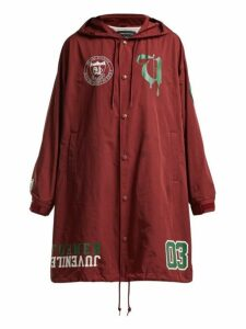 Undercover - Graphic Print Long Hooded Coat - Womens - Burgundy