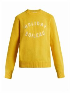 Holiday Boileau - Logo Intarsia Wool Sweater - Womens - Yellow