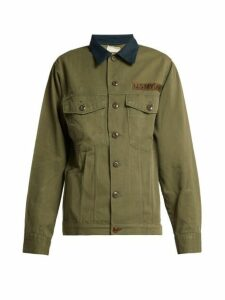 Myar - Contrast Collar Cotton Blend Military Jacket - Womens - Dark Green