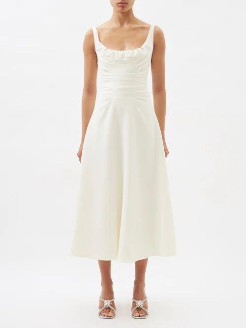 Rochas - Metallic Wool Blend Jacquard Gown - Womens - Silver