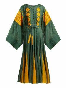 Vita Kin - Mirror Embroidered Linen Dress - Womens - Green Multi