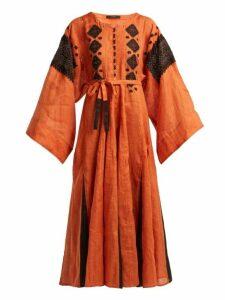 Vita Kin - Mirror Embroidered Linen Maxi Dress - Womens - Orange Multi