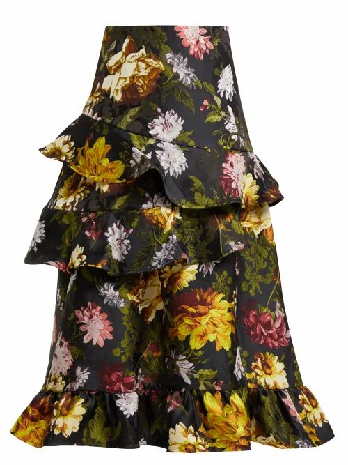 Preen By Thornton Bregazzi - Esta Ruffled Floral Jacquard Skirt - Womens - Black Multi