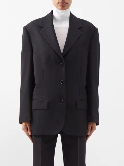 See By Chloé - Bias Cut Striped Silk Midi Skirt - Womens - Navy