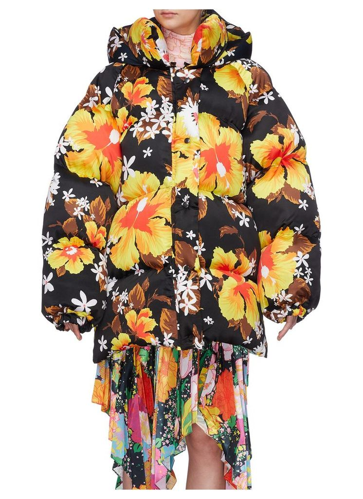 'Hawaii' floral print oversized hooded puffer jacket