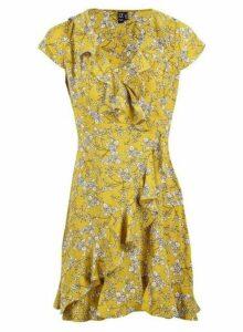 Womens *Izabel London Mustard Wrap Tea Dress- Yellow, Yellow