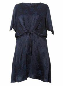 Womens **Dp Curve Navy Jacquard Manipulated Skater Dress- Blue, Blue