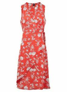 Womens *Izabel London Red Floral Print Tie Side Skater Dress- Red, Red